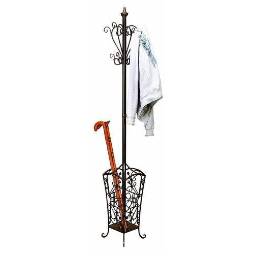 UMA Enterprises Toscana Metal Coat Rack with Basket Base