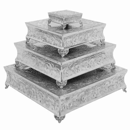 UMA Enterprises Rustic Aluminum Cake Stand (4 piece set)