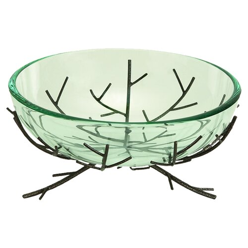 UMA Enterprises Urban Trends Modern Glass Bowl Metal Stand