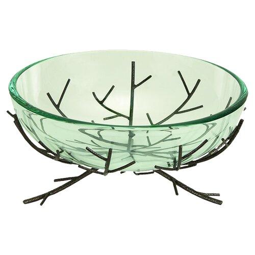 UMA Enterprises Urban Trends Modern Glass Bowl Metal Stand