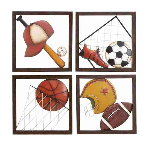 UMA Enterprises 4 Piece Loft Aseball Décor Wall Plaque