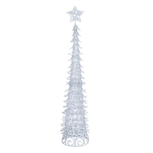 4' Silver Artificial Christmas Tree with Star and Glitter