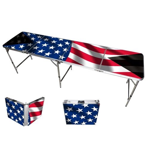Red Cup Pong American Flag Beer Pong Table in Standard Aluminum