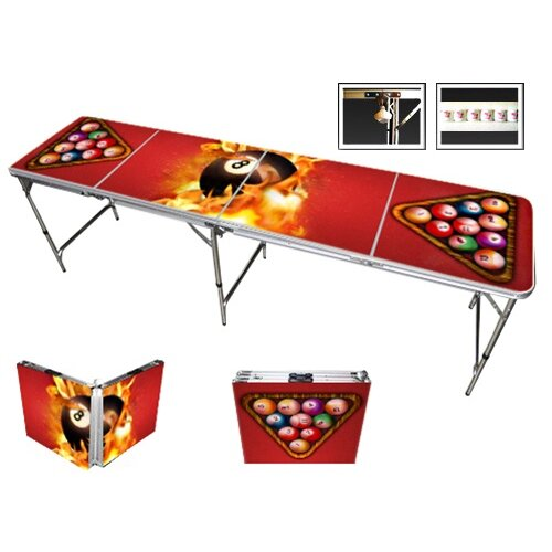 Red Cup Pong 8 Ball Fire Beer Pong Table in Standard Aluminum