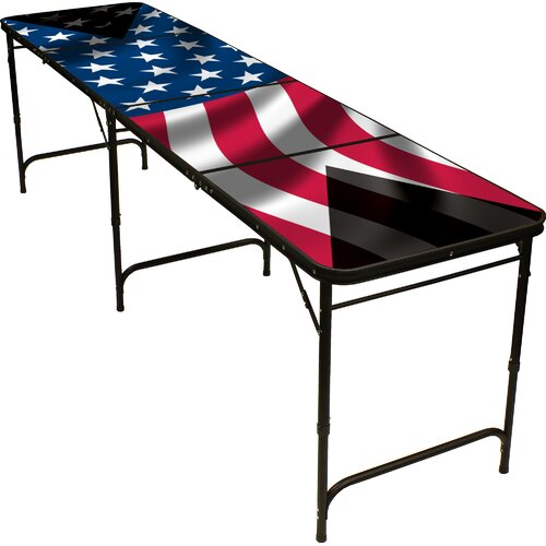American Flag Beer Pong Table in Black Aluminum