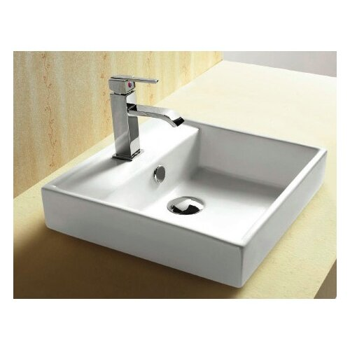 ... Ceramica Square Single Hole Self Rimming Bathroom Sink with Faucet