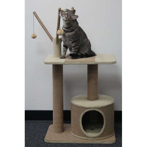 Recycled Paper Rope Cat Perch with Teasers and Condo