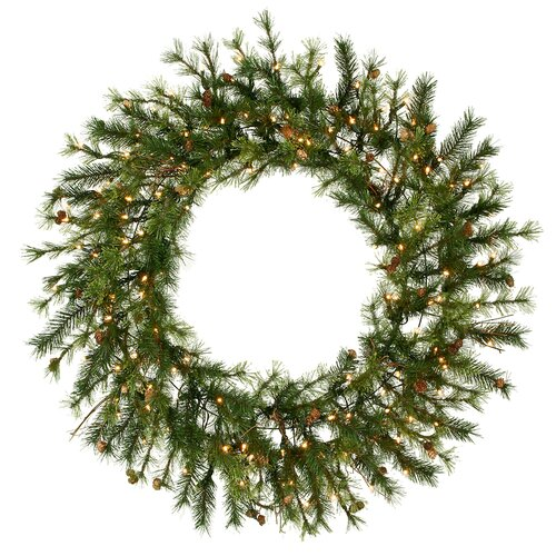 "Vickerman Co. Mixed Country Pine 60"" Wreath with Clear Lights"