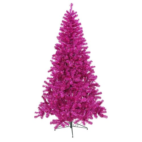 8' Fuchsia Artificial Christmas Tree with 600 Purple Mini Lights with Stand