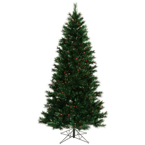 Midnight Green Pine 9' Artificial Christmas Tree with 600 Red Dura-Lit Mini Lights with Stand ...
