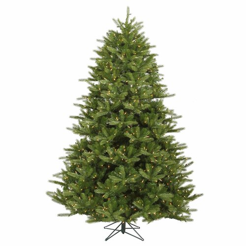 Vickerman Co. Majestic 9' Green Frasier Artificial Christmas Tree with 1350 Dura-Lit Clear Lights with Stand