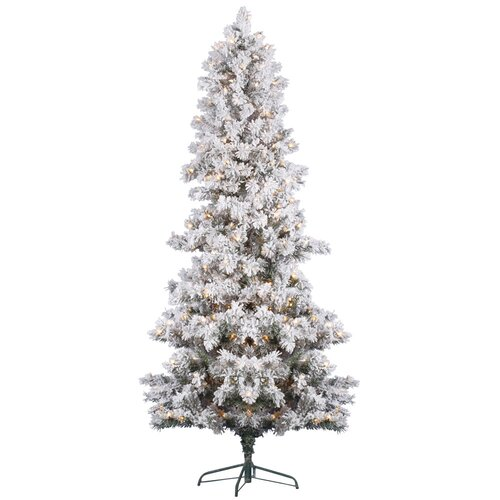 Vickerman Co. 6' White Pine Artificial Christmas Tree with 300 Clear Lights and Flocked
