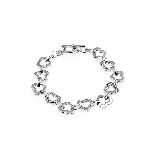 Kate Bissett Silver-Tone Heart Pattern with Clear Cubic Zirconia Bracelet