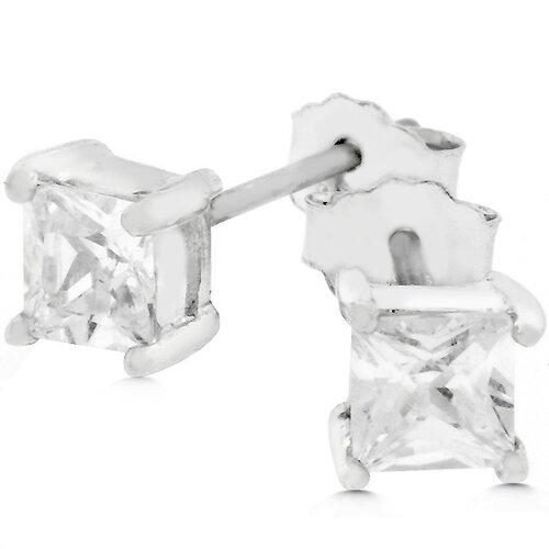 Kate Bissett Sterling Silver Princess-Cut Cubic Zirconia Mini Stud Earrings