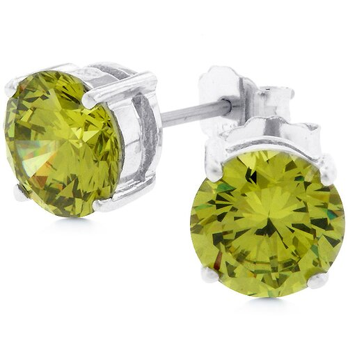 Kate Bissett Sterling Silver Green Cubic Zirconia Stud Earrings