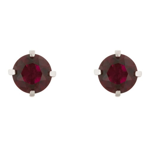 Kate Bissett Stud Earrings with A Round Cut Ruby Cubic Zirconia