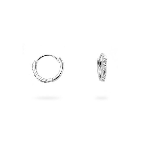 Silver-Tone Cubic Zirconia Huggie Earrings
