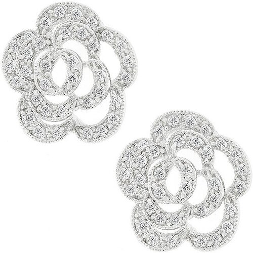 Silver-Tone Cubic Zirconia Flower Earrings