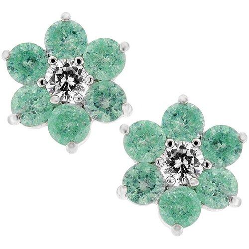 Kate Bissett Silver-Tone Lunar Green Cubiz Zirconia Flower Stud Earrings