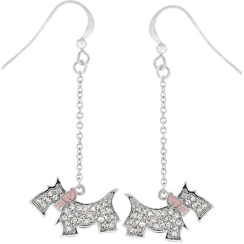 Silver-Tone Cubiz Zirconia Scottie Dog Drop Earrings