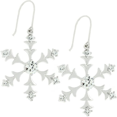 Silver-Tone Snow Flake Drop Cubiz Zirconia Earrings