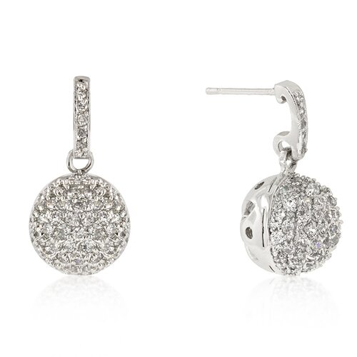 Round Cut Clear Cubic Zirconia Crystal Ball Dangle Earrings