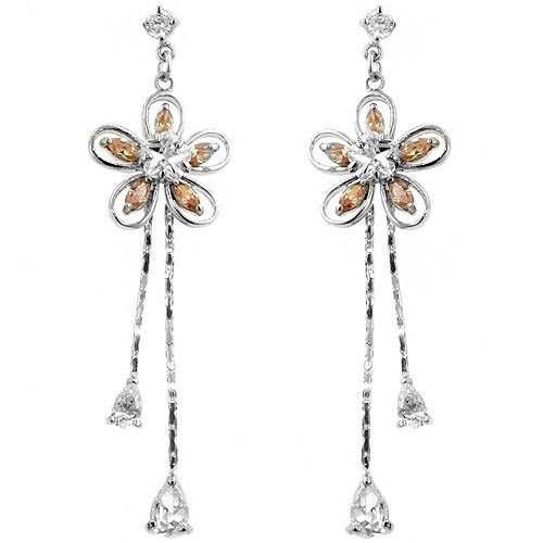 Silver-Tone Cubiz Zirconia Flower Dangle Earrings