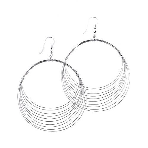 Silver-Tone Contemporary Hoop Earrings