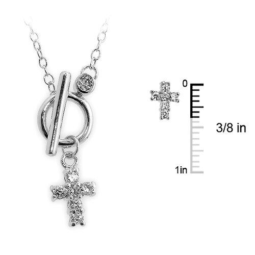 Silver-Tone Cubiz Zirconia Toggle Cross Necklace