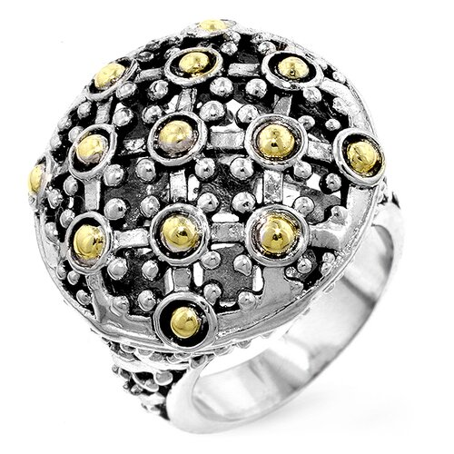 Kate Bissett Two-Tone Textured Dome Cubic Zirconia Ring