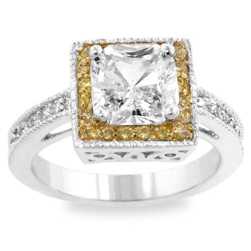 Kate Bissett Two-Tone Princess Cubic Zirconia Ring