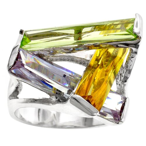 Silver-Tone Contemporary Cubic Zirconia Ring