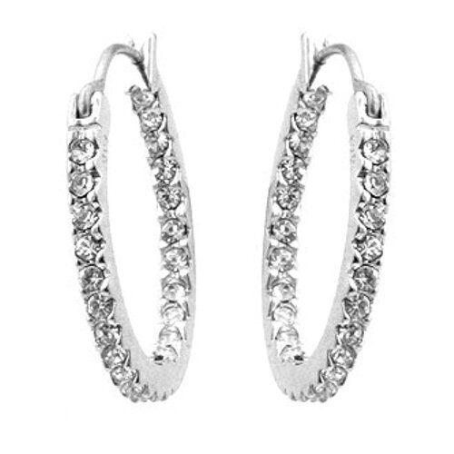 Kate Bissett Sterling Silver Clear Cubic Zirconia Hoop Earrings