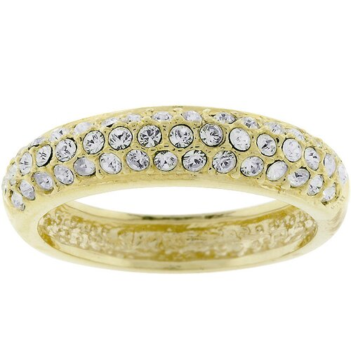 Goldtone Pave Cubic Zirconia Ring