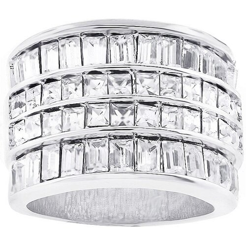 Kate Bissett Silver-Tone Four-Row Cubic Zirconia Cocktail Ring