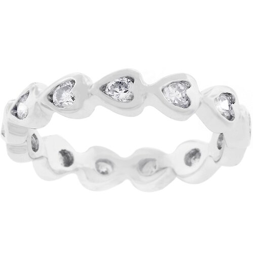 Kate Bissett Silver-Tone Heart Eternity Cubic Zirconia Ring
