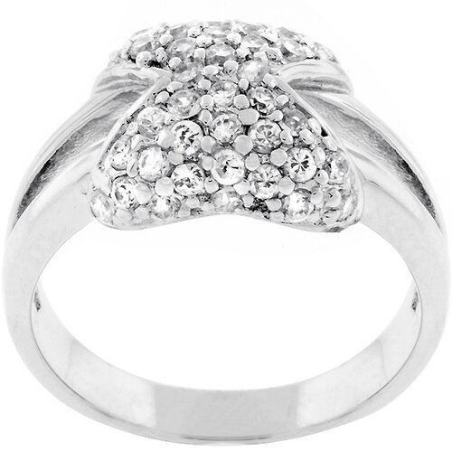 Kate Bissett Silvertone Hourglass Design Cubic Zirconia Ring