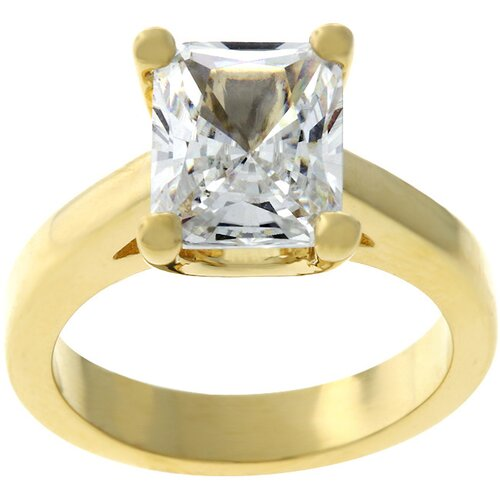 Gold-Tone Emerald-Cut Cubic Zirconia Solitaire Ring