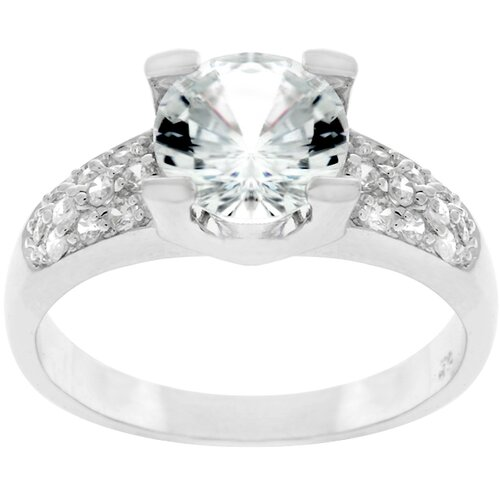 Silver-Tone Round-Cut and Pave Cubic Zirconia Ring
