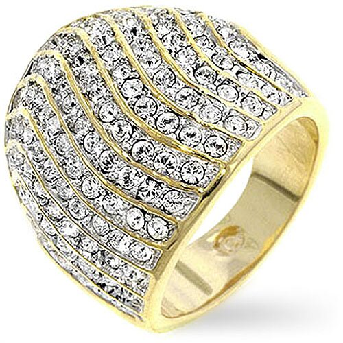 Gold-Tone Waves of Cubic Zirconia Fashion Pave Crystal Cocktail Ring