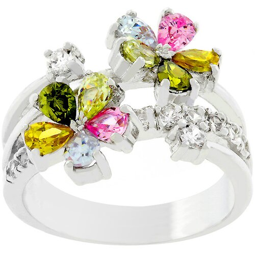 Kate Bissett Silver-Tone Multi Color Floral Ring