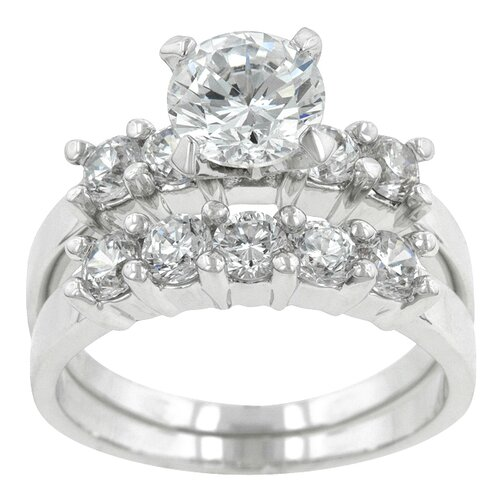 Clear Cubic Zirconia Classical Wedding Ring Set