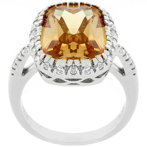 Kate Bissett Silver-Tone Champagne Cubic Zirconia Timeless Ring