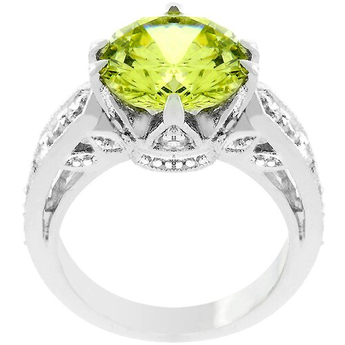 Silver-Tone Green Cubic Zirconia Victorian Style Ring