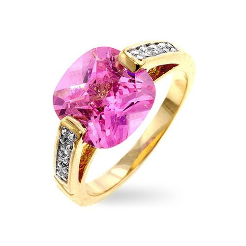 Two-Tone Cushion-Cut Pink Cubic Zirconia Ring