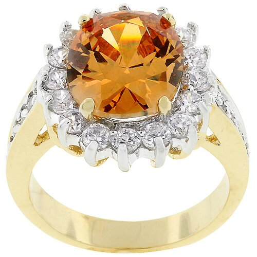 Two-Tone Oval-Cut Champagne Cubic Zirconia Ring