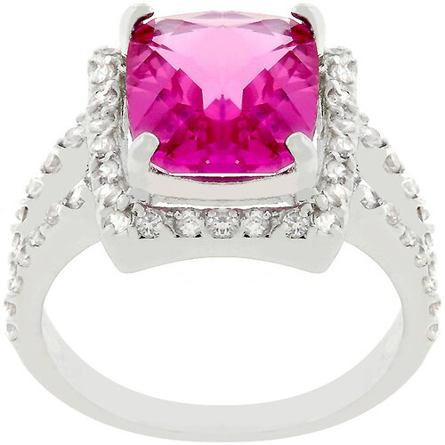 Kate Bissett Silver-Tone Fuchsia Cubic Zirconia Cocktail Ring