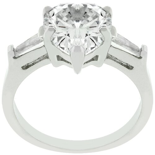 Kate Bissett White Gold Rhodium Bonded Heart Triplet Cubic Zirconia Ring