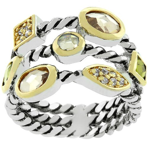 Kate Bissett White Gold Pizzazz Cubic Zirconia Cable Ring