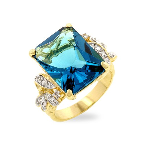 Kate Bissett Two-Tone Emerald Cut Blue Cubic Zirconia Cocktail Ring